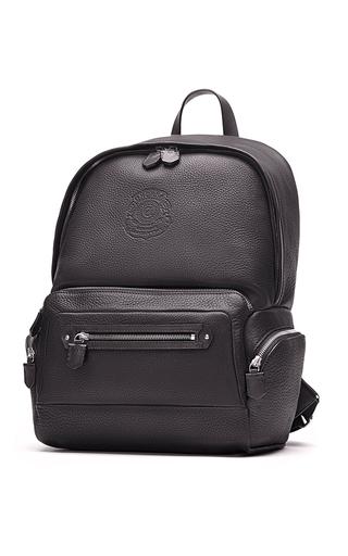 Medium ghurka black unisex leather backpack