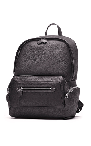 Medium ghurka black unisex leather backpack