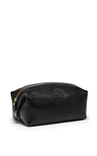 Medium ghurka black leather dopp kit