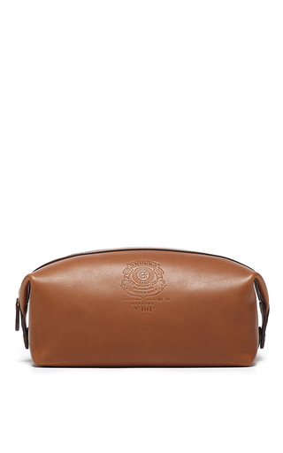 Medium ghurka brown leather dopp kit 2