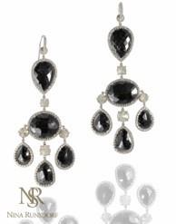 Black Diamond Chandelier Earrings by NINA RUNSDORF for Preorder on Moda Operandi