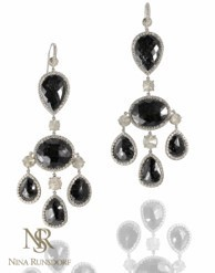 Medium nina runsdorf silver black diamond chandelier earrings