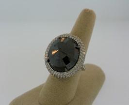 Black Diamond Ring With Pave Diamonds by NINA RUNSDORF for Preorder on Moda Operandi