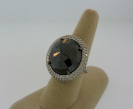 Medium nina runsdorf silver black diamond ring with pave diamonds