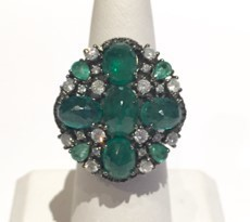 Medium nina runsdorf green blackened emerald ring