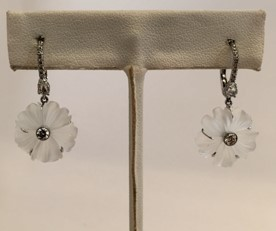 Medium nina runsdorf silver frasted caved rock crystal flower earrings