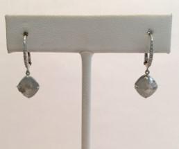 Medium nina runsdorf silver diamond cushion earrings