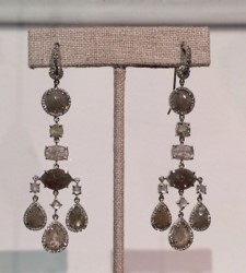 Medium nina runsdorf silver organic diamond chandelier earrings