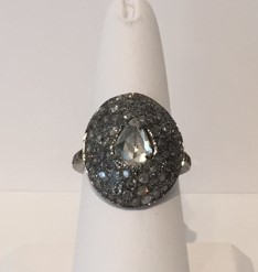 Medium nina runsdorf silver pearshape diamond rosecut ring