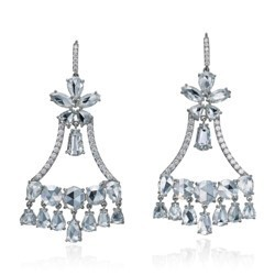 Medium nina runsdorf silver rose cut diamond earrings