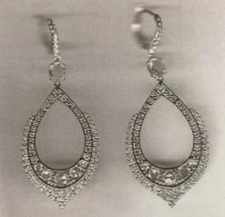 Rose Cut White Gold Diamond Earrings by NINA RUNSDORF for Preorder on Moda Operandi