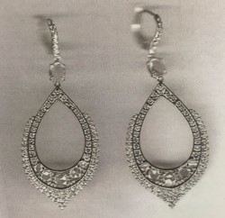 Medium nina runsdorf silver rose cut white gold diamond earrings
