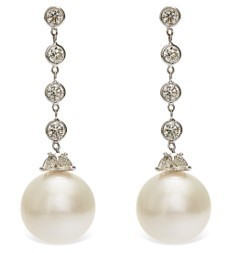 Medium nina runsdorf white diamond by the yard pearl earrings