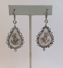 Medium nina runsdorf silver slice diamond earrings