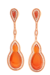 Medium fernando jorge orange fluid diamonds framed stone earrings