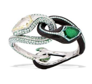 Medium arunashi green emerald and diamond snake cuff