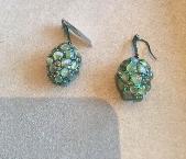 Medium arunashi green crysoberyl cayseye eggs with diamonds earrings