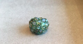 Medium arunashi green crysoberyl catseye and diamond ring