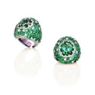 Green Tourmaline, Emerald And Opal Ring by ARUNASHI for Preorder on Moda Operandi