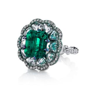 Emerald And Diamond Tabiz Ring by ARUNASHI for Preorder on Moda Operandi