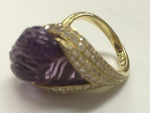 Carved Amethyst 'conch Pear' Ring by NICHOLAS VARNEY for Preorder on Moda Operandi
