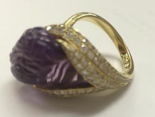 Medium nicholas varney purple carved amethyst conch pear ring