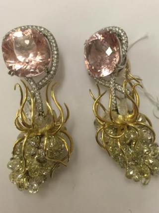 Medium nicholas varney pink morganite wisteria earclips