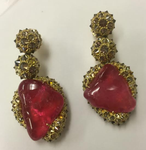 Medium nicholas varney brown pink tourmaline pebble earring