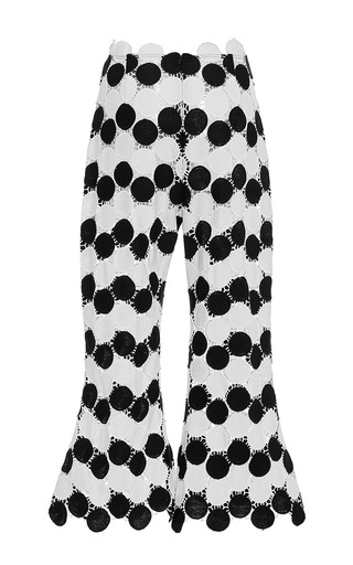 Cropped Crochet Flare Pants by PAPER LONDON for Preorder on Moda Operandi