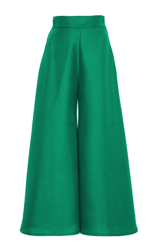 Green Wide Leg Kelly Pants by PAPER London | Moda Operandi