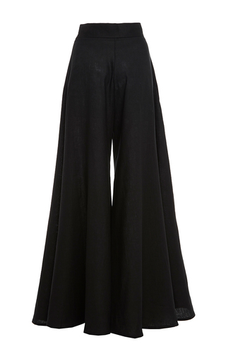 Black Wide Leg Kelly Pants by PAPER LONDON for Preorder on Moda Operandi