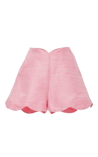 Pink Scalloped High Waist Shorts by PAPER LONDON for Preorder on Moda Operandi