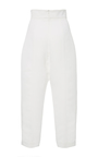 White Cropped Noix Pants by PAPER LONDON for Preorder on Moda Operandi