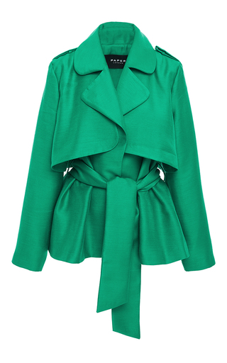 Medium paper london green short trench jacket with wrap front