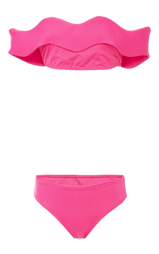 Wave Off The Shoulder Bikini Set by PAPER LONDON for Preorder on Moda Operandi