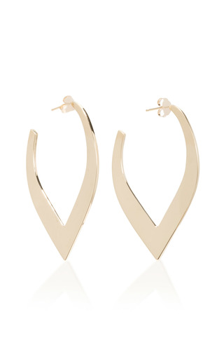 Medium two of most gold large v hoops