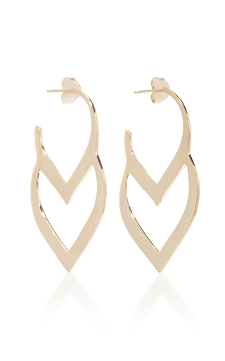 Medium two of most gold double loop hoops