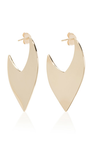 Medium two of most gold thick v hoops