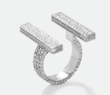Medium maison dauphin silver double ring bb1 collection ii