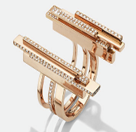 Medium maison dauphin rose gold double ring bb2 collection ii