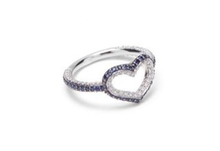 Medium jordan askill silver single heart ring with full pave