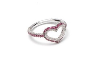 Medium jordan askill silver single heart ring with full pave 2