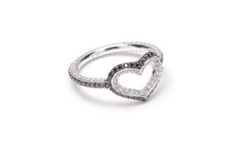Medium jordan askill silver single heart ring with full pave 3