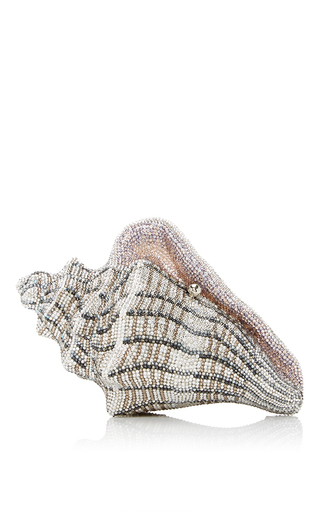Medium judith leiber silver cubana conch shell clutch