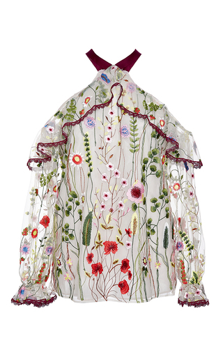 Medium alexis floral kylie embroidered cold shoulder top