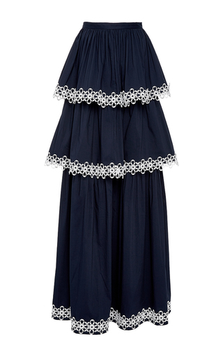 Medium alexis navy kali tiered maxi skirt