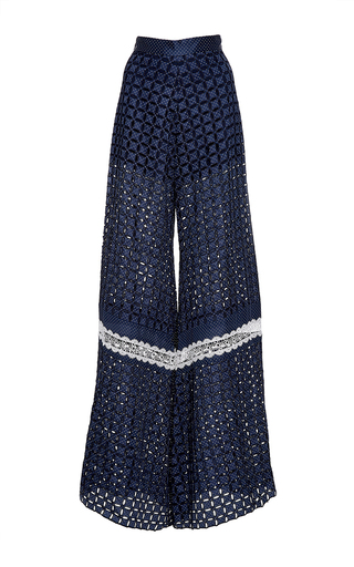 Medium alexis navy brady eyelet wide leg pants