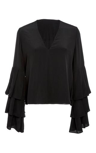 Medium alexis black valencia ruffled sleeve top