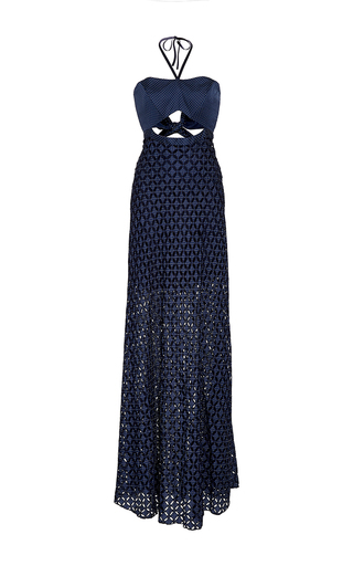 Medium alexis navy abriona cutout eyelet gown