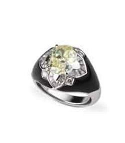 Medium fabio salini yellow ring etoile with yellow diamond diamonds and onyx